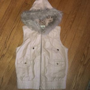 NEW faux leather fur hooded vest, so cute!
